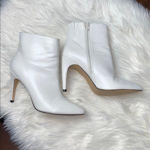 Express white heeled booties